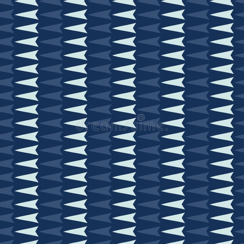 Картина вектора геометрических нашивок Arrrow треугольника безшовная Синь индиго руки вычерченная иллюстрация штока