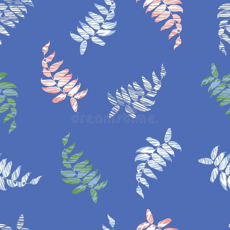 Картина вектора голубая безшовная с листьями Соответствующий для ткани, обруча подарка и обоев иллюстрация штока