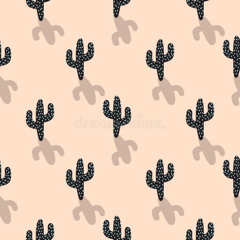 Картина вектора завода кактуса безшовная Абстрактный шарж краснеет печать ткани пустыни цвета иллюстрация вектора