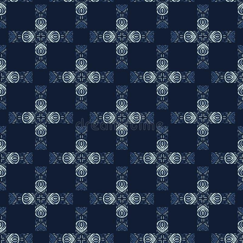 Картина вектора заплатки батика краски сини индиго безшовная Японское нарисованное рукой иллюстрация вектора