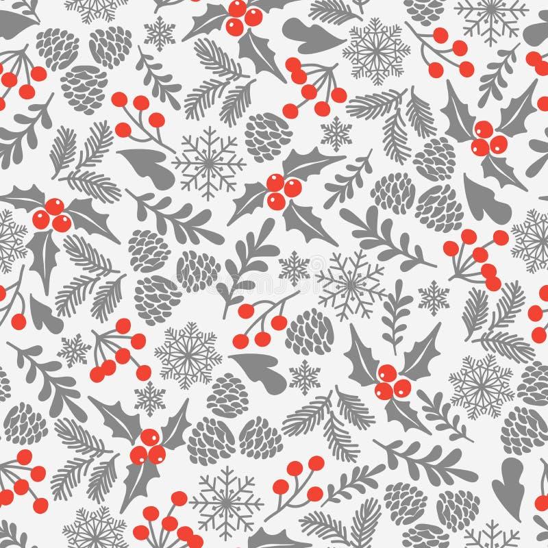 Картина вектора зимы безшовная с ягодами падуба Часть собрания предпосылок рождества Смогите быть использовано для обоев, картины иллюстрация штока