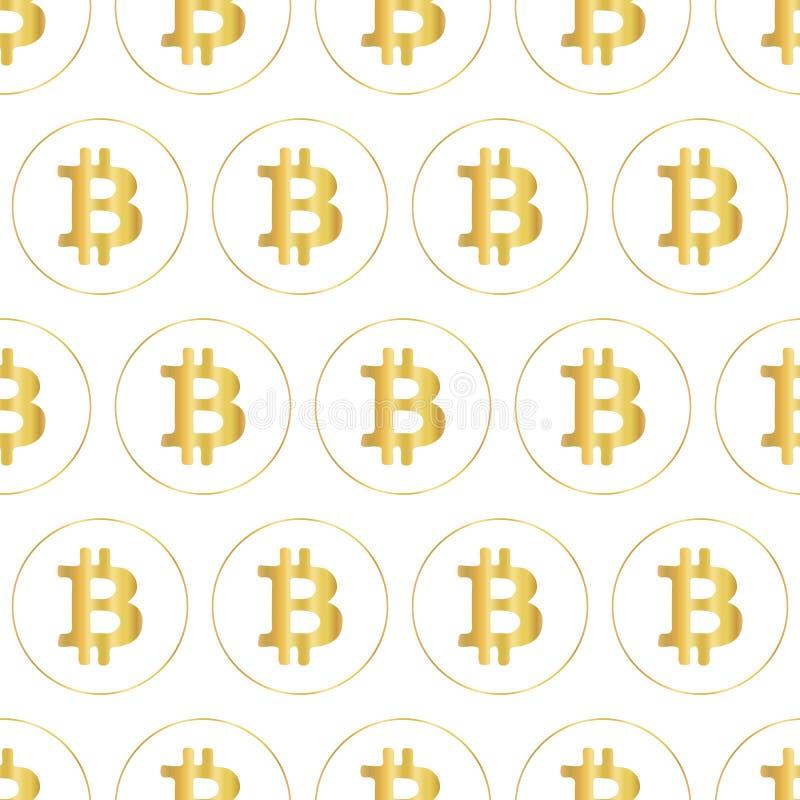 Картина вектора значка Bitcoin безшовная Символы валюты металлического сусального золота секретные на белой предпосылке иллюстрация штока