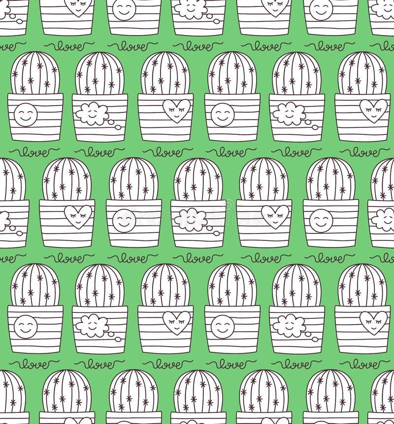 Картина вектора значка doodle кактуса безшовная иллюстрация вектора