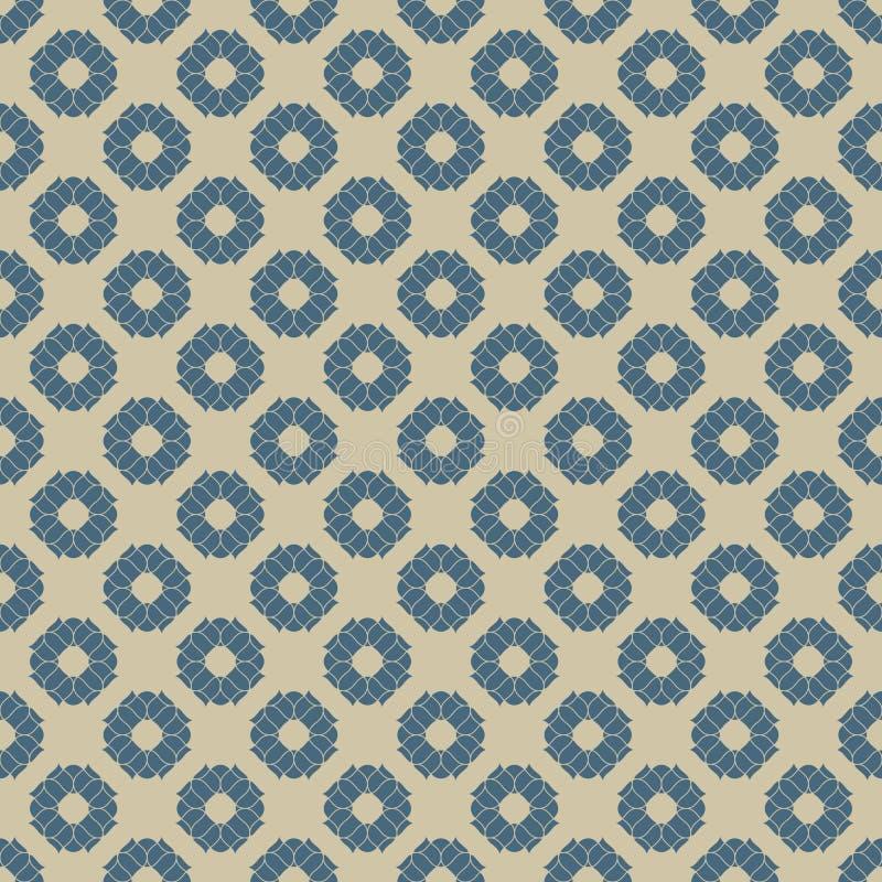 Картина вектора золотая флористическая безшовная Предпосылка сини и золота геометрическая иллюстрация штока