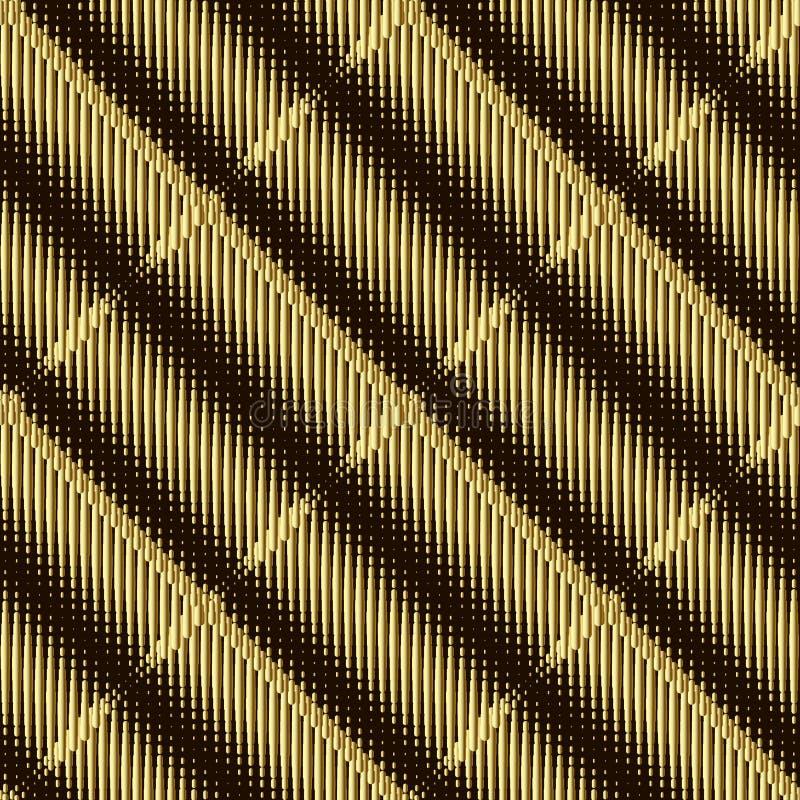Картина вектора золота полутонового изображения 3d безшовная Текстурированная предпосылка tartan Фон повторения градиента Grunge  иллюстрация вектора