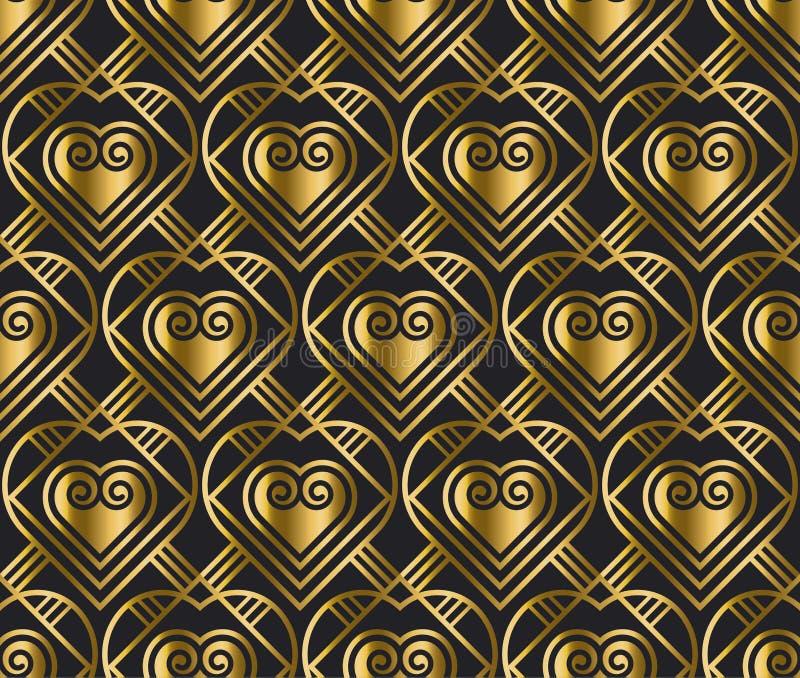 Картина вектора золота с сердцем в стиле стиля Арт Деко иллюстрация вектора