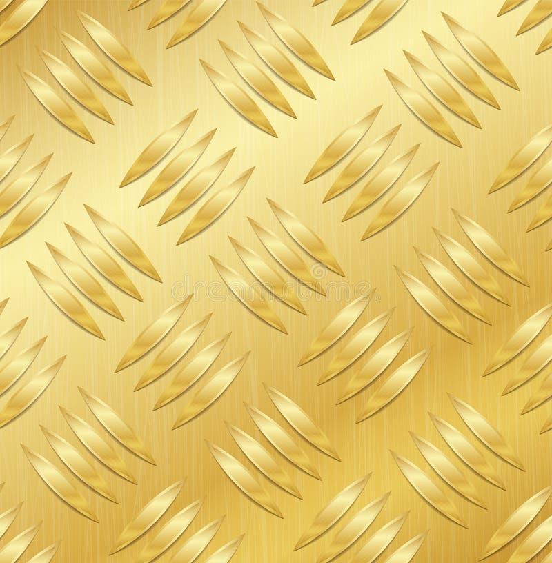 Картина вектора диаманта металлопластинчатая безшовная Рифлёный алюминиевый лист Предпосылка золотого металла безшовная также век иллюстрация штока