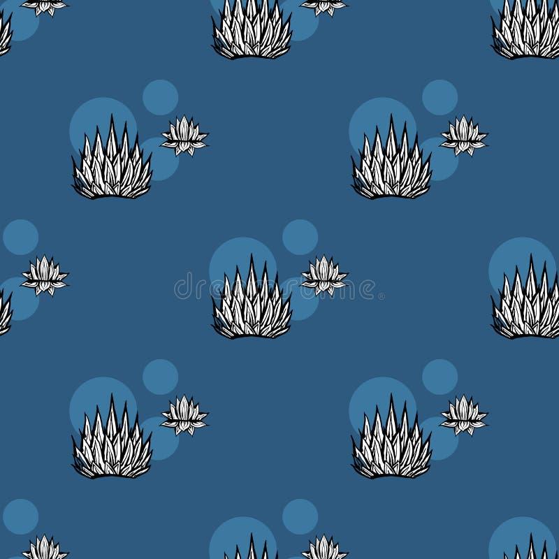 Картина вектора кактуса безшовная Иллюстрация кактуса руки вектора вычерченная темно-синая суккулентная Безшовные обои завода иллюстрация вектора