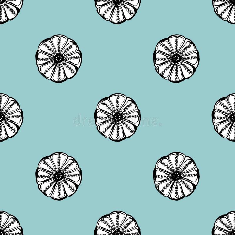 Картина вектора кактуса безшовная Иллюстрация кактуса руки вектора вычерченная голубая зеленая суккулентная Безшовные обои завода бесплатная иллюстрация