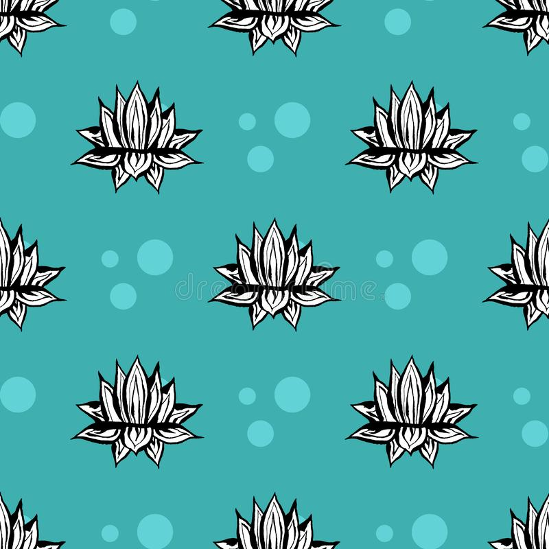 Картина вектора кактуса безшовная Иллюстрация кактуса руки вектора вычерченная голубая зеленая суккулентная Безшовные обои завода иллюстрация штока