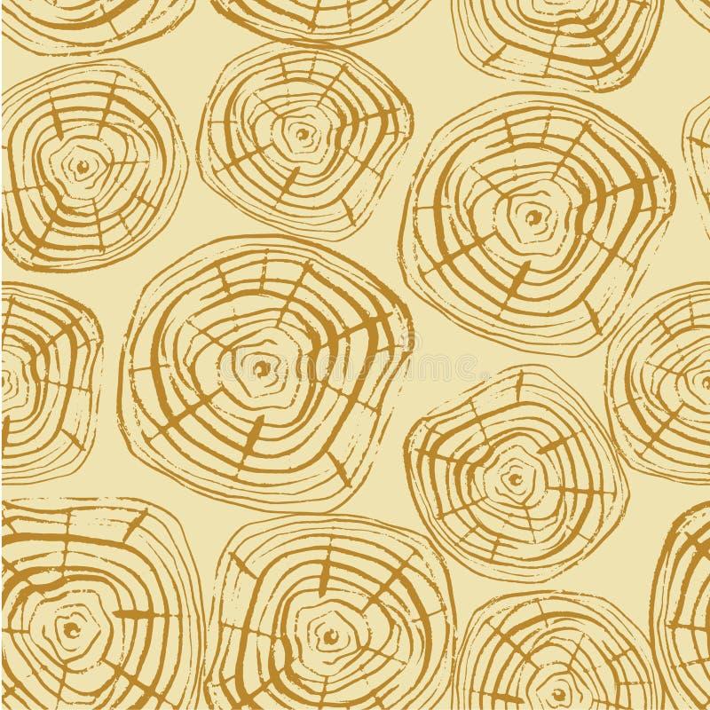 Картина вектора колец дерева безшовная иллюстрация штока