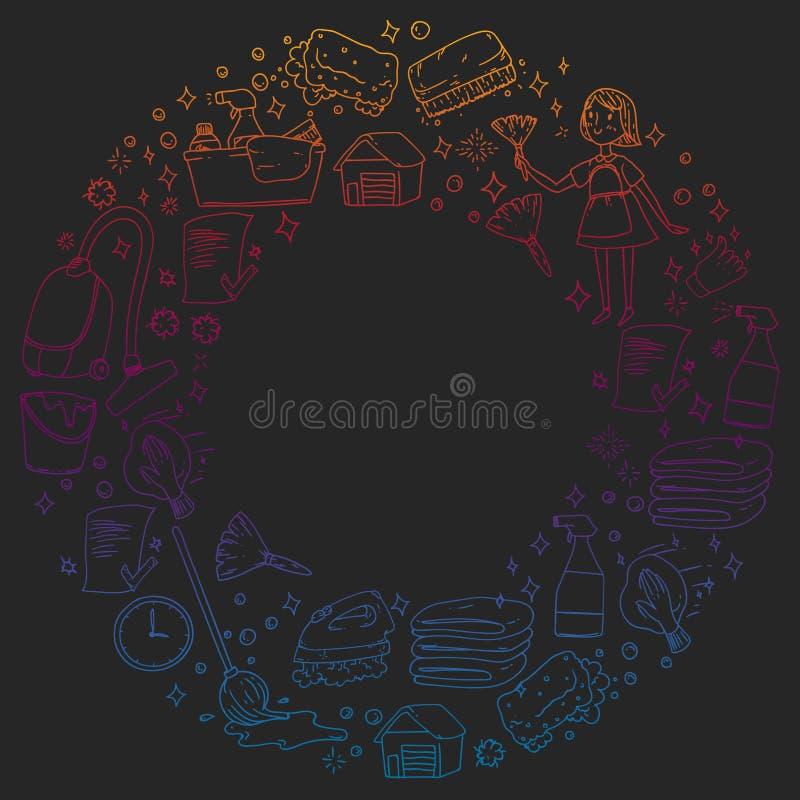 Картина вектора компании уборок monochrome на черной предпосылке, рисуя градиенте бесплатная иллюстрация