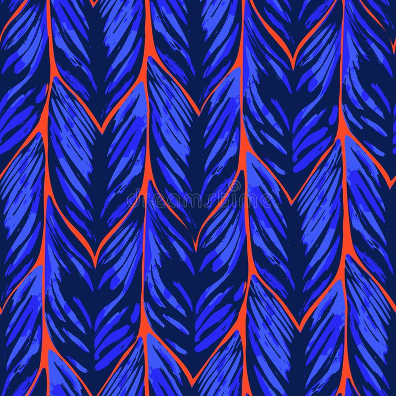 Картина вектора конспекта безшовная экзотических листьев в ярких цветах иллюстрация вектора
