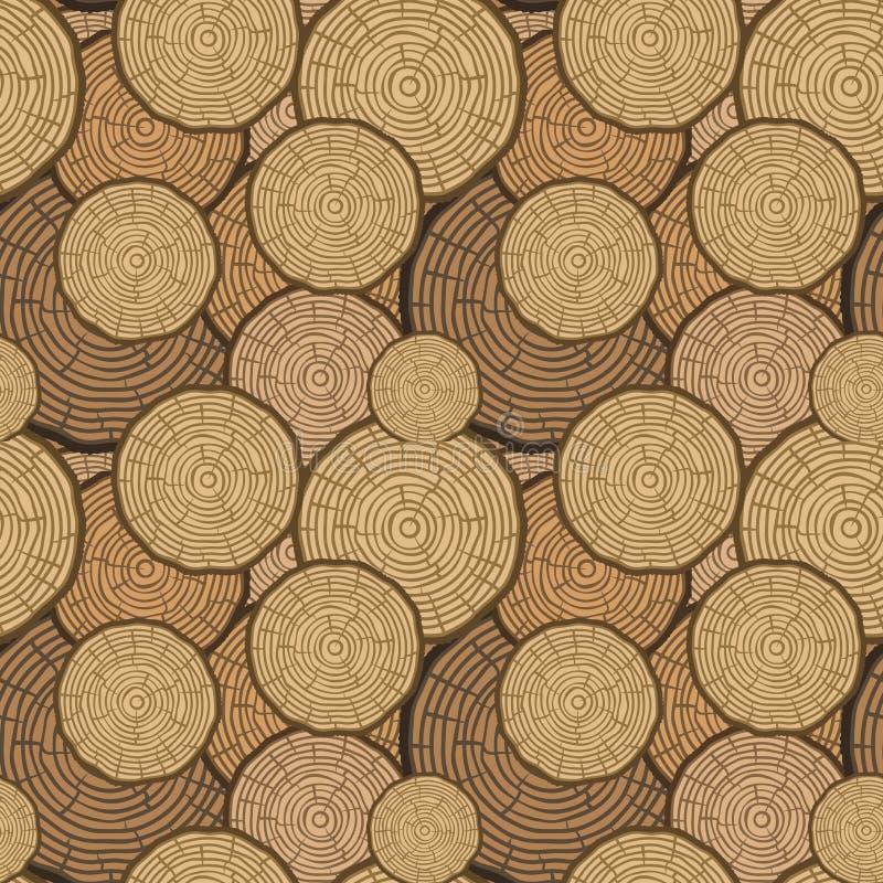 Картина вектора колец дерева безшовная Предпосылка ствола дерева отрезка пилы также вектор иллюстрации притяжки corel бесплатная иллюстрация