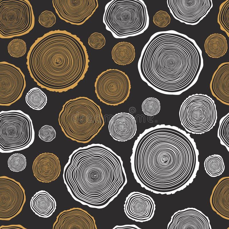 Картина вектора колец дерева безшовная бесплатная иллюстрация