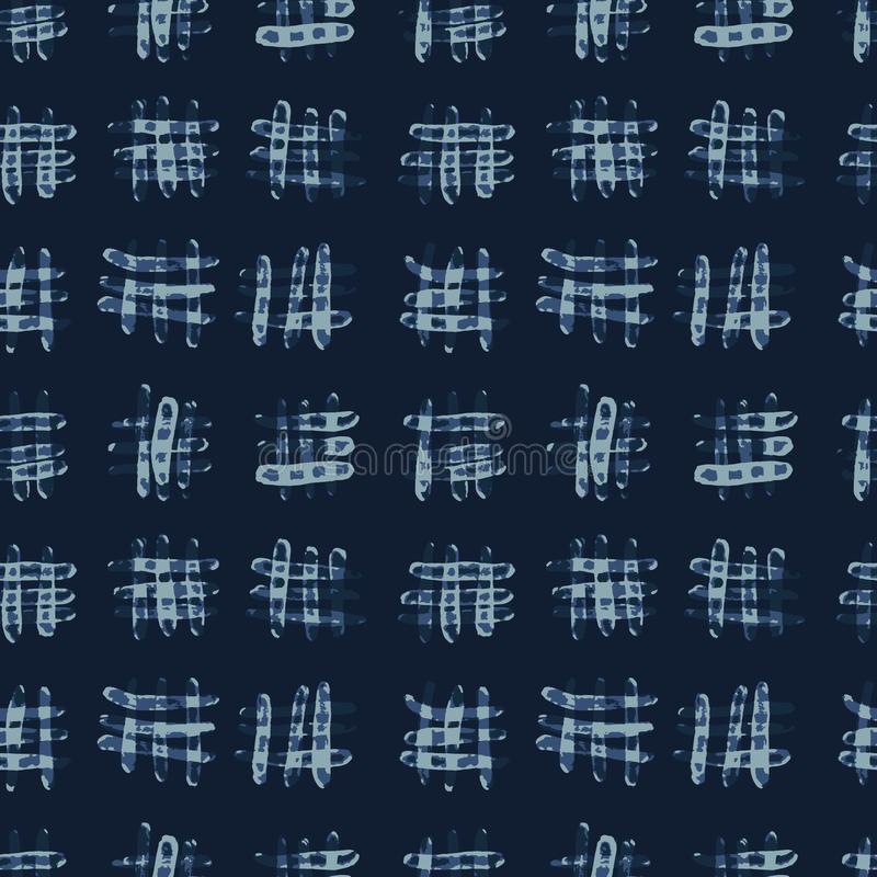 Картина вектора краски батика сини индиго безшовная Нарисованный рукой крест Criss Grunge бесплатная иллюстрация