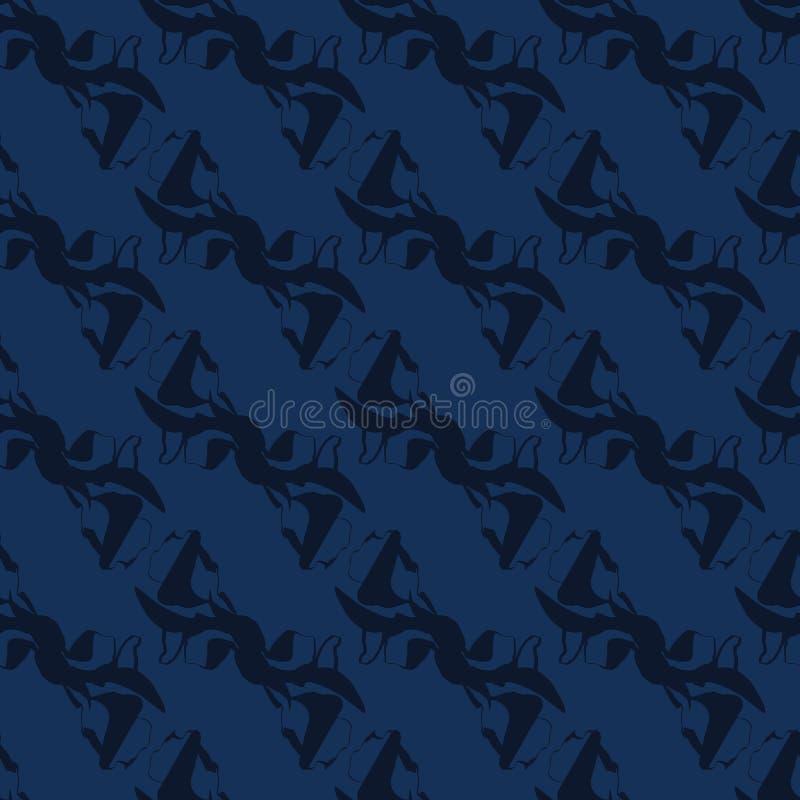 Картина вектора краски Shibori сини индиго безшовная Стиль руки вычерченный японский иллюстрация вектора