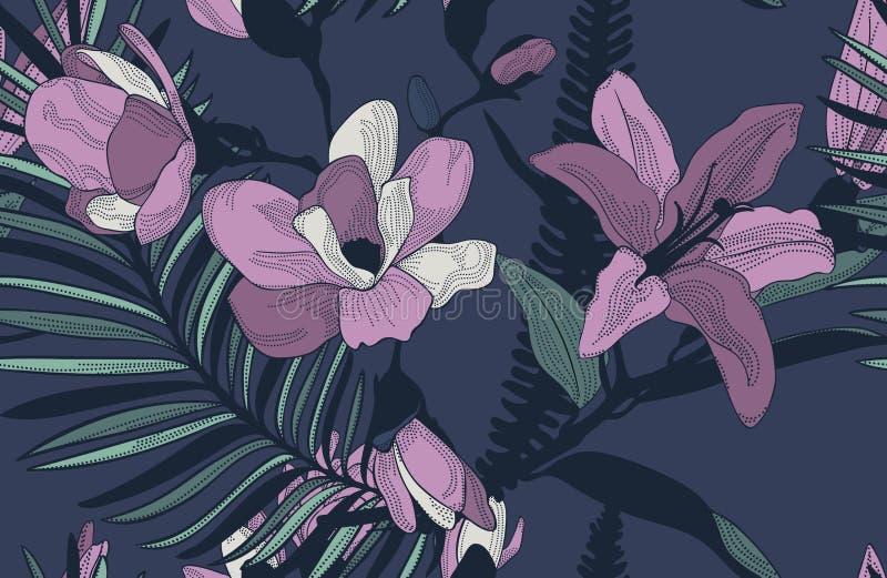 Картина вектора красочная безшовная с вычерченными цветками иллюстрация штока