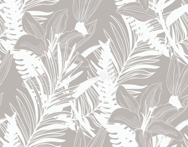 Картина вектора красочная безшовная с вычерченными цветками бесплатная иллюстрация