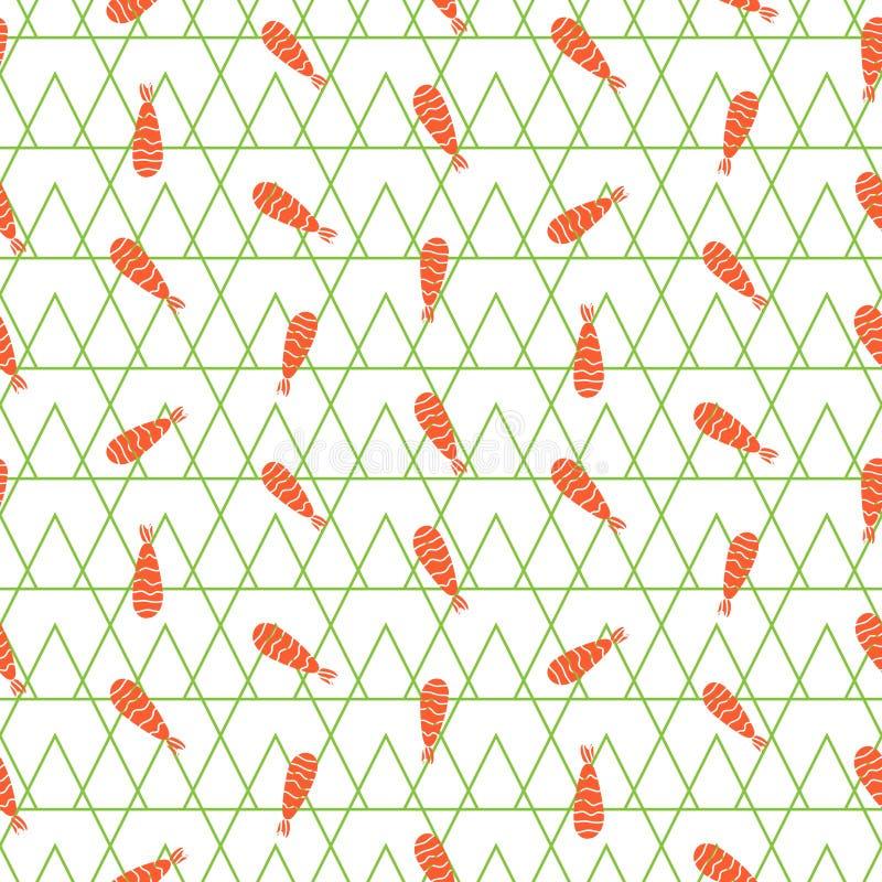 Картина вектора креветки безшовная иллюстрация штока