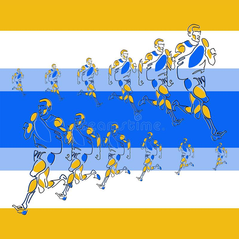 Картина вектора линейная стилизованных диаграмм спортсменов иллюстрация штока