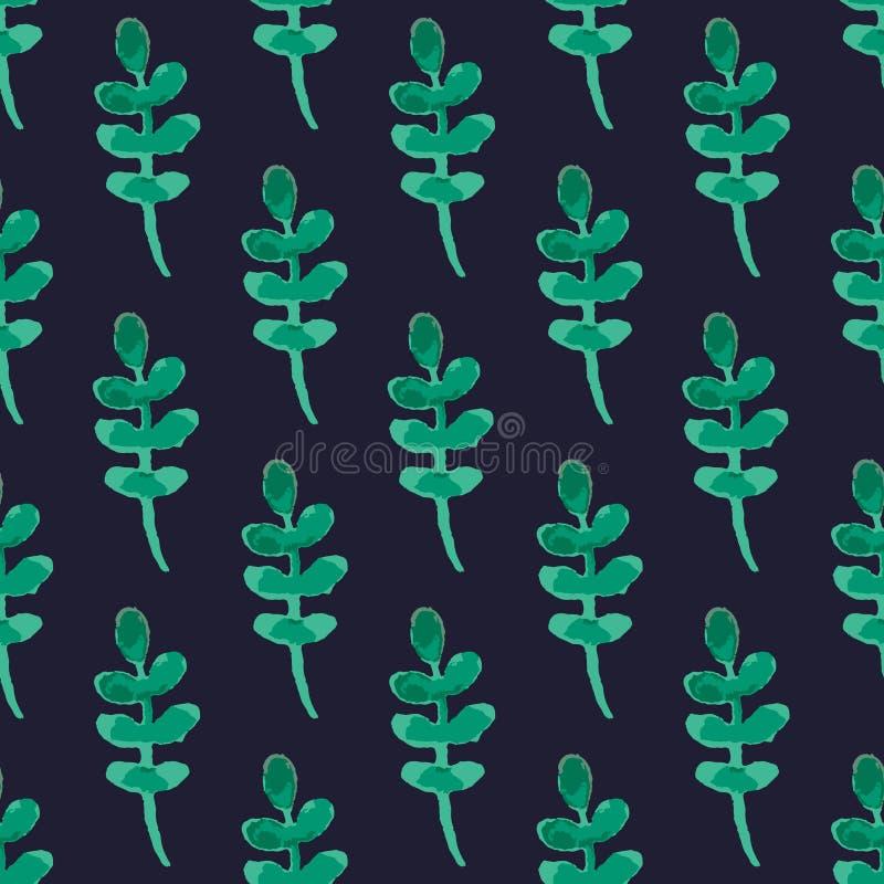 Картина вектора листьев зеленого цвета акварели на темно-синей предпосылке бесплатная иллюстрация