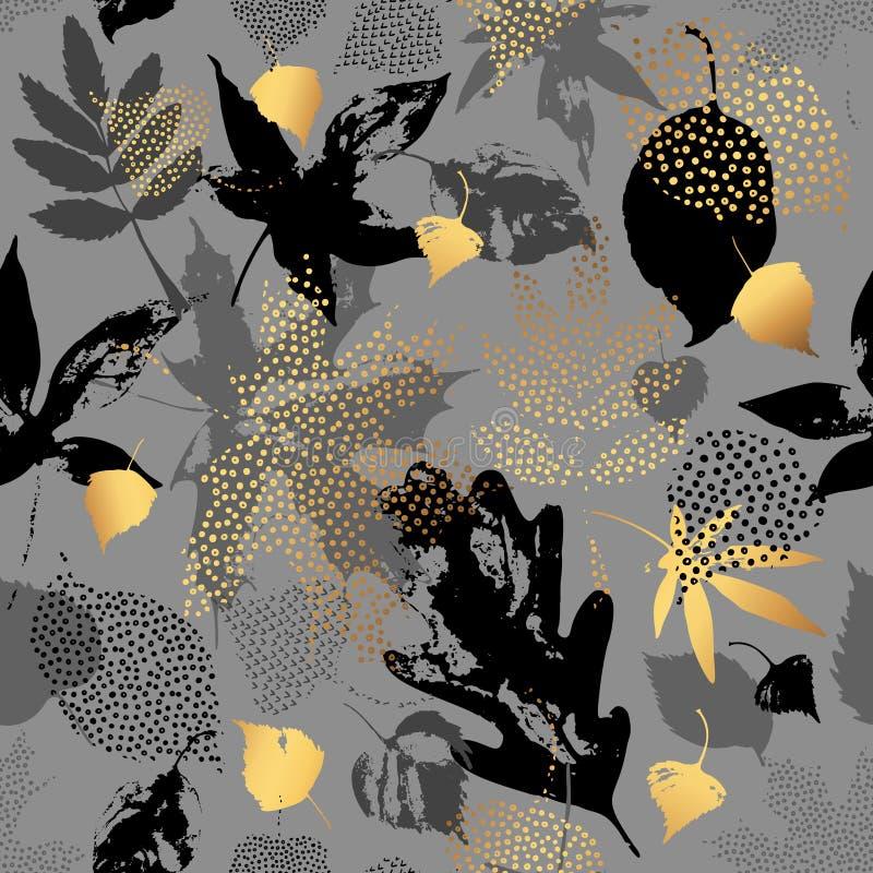 Картина вектора листьев осени безшовная иллюстрация вектора