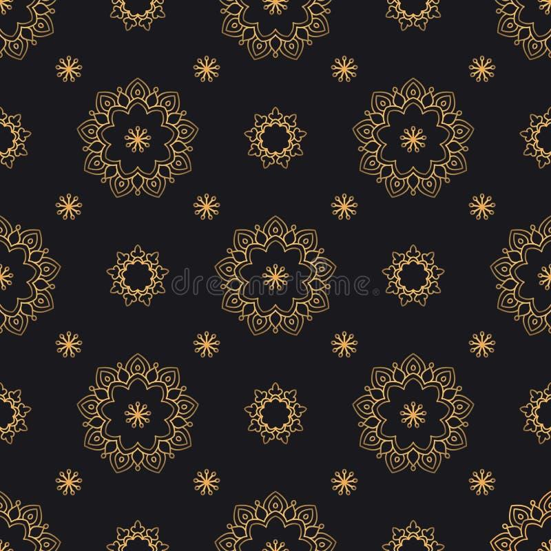 Картина вектора мандалы безшовная Роскошная богато украшенная предпосылка с золотыми арабскими элементами бесплатная иллюстрация