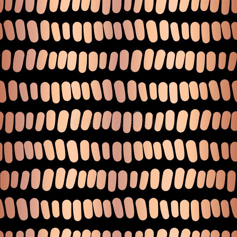 Картина вектора медных нашивок фольги горизонтальных безшовная Сияющие металлические розовые ходы золота в линиях на черной предп иллюстрация вектора