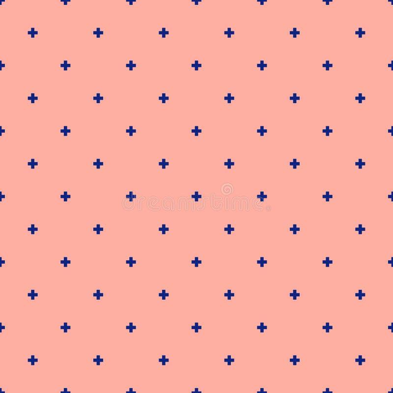 Картина вектора минималистская геометрическая безшовная с небольшими крестами Голубой и розовый иллюстрация вектора