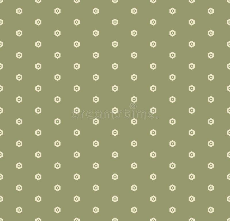 Картина вектора минимальная геометрическая безшовная с небольшими шестиугольниками Цвет растительности бесплатная иллюстрация