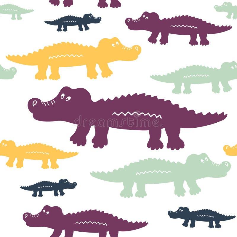Картина вектора милых крокодилов шаржа безшовная иллюстрация штока
