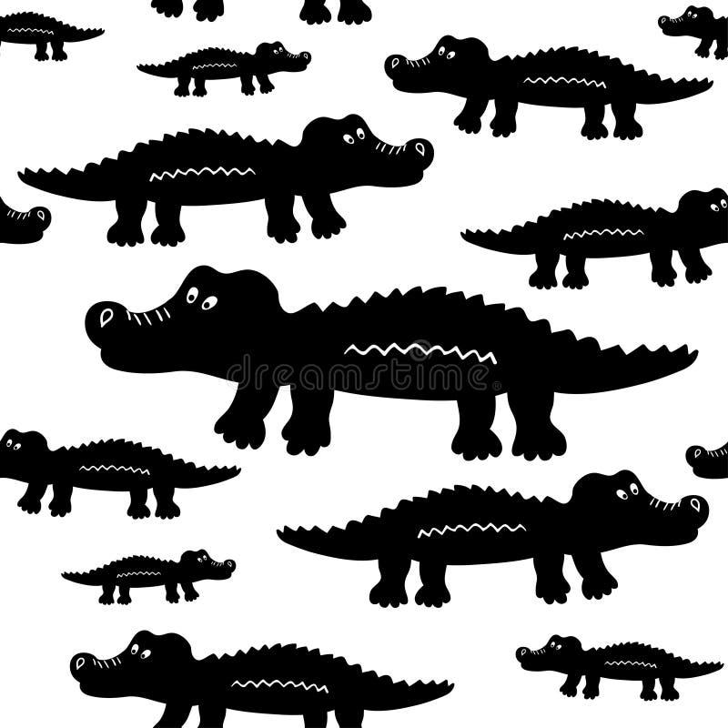 Картина вектора милых крокодилов шаржа безшовная иллюстрация вектора