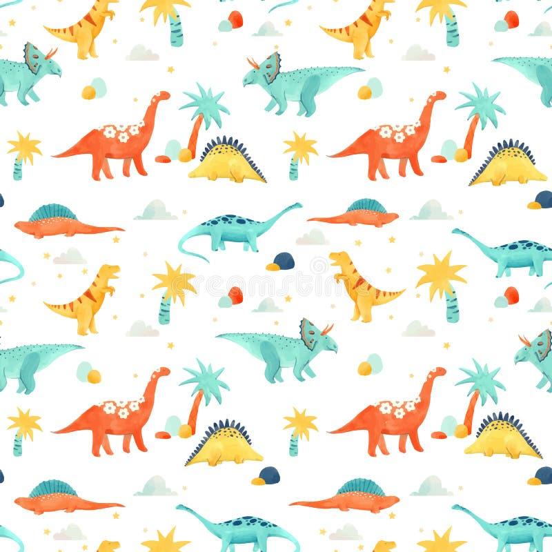 Картина вектора младенца динозавра акварели иллюстрация штока