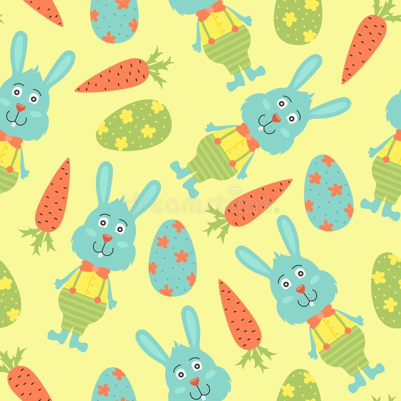 Картина вектора мультфильма безшовная с пасхальными яйцами и зайчиками конструкция предпосылки яркая иллюстрация штока