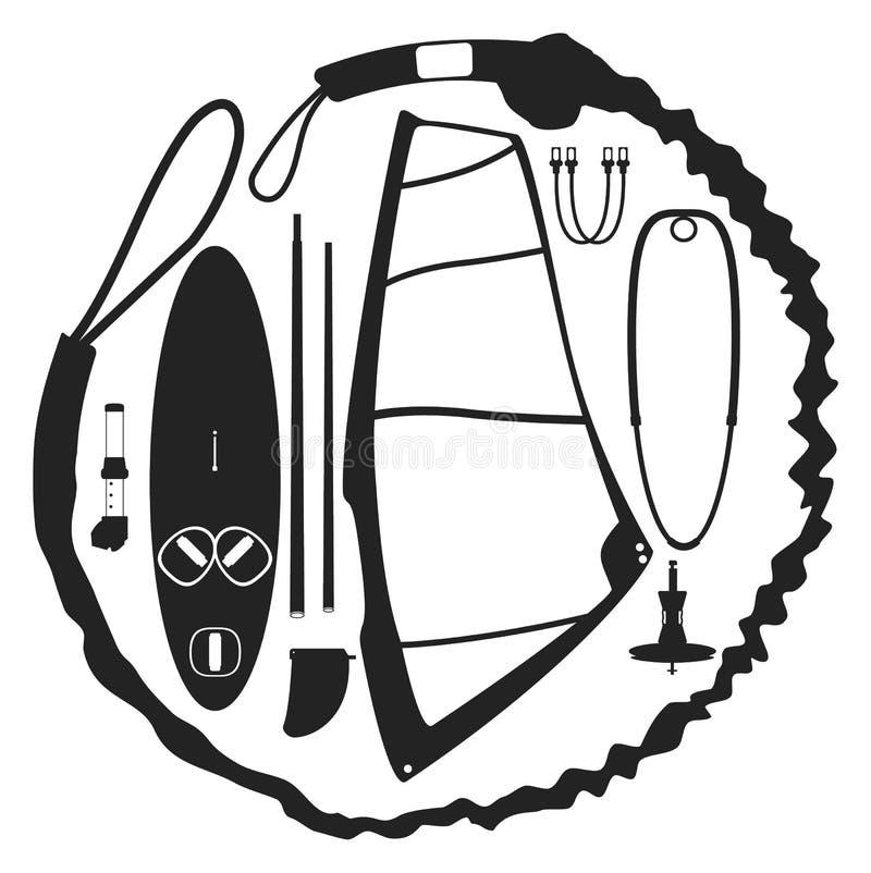 Картина вектора набора виндсерфинга стоковые изображения rf