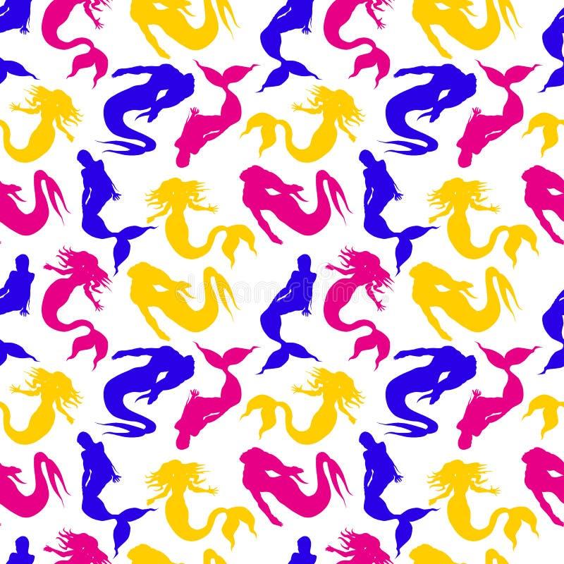 Картина вектора нарисованная рукой безшовная mermaids Голубые, желтые и красные цвета на белом фоне иллюстрация штока