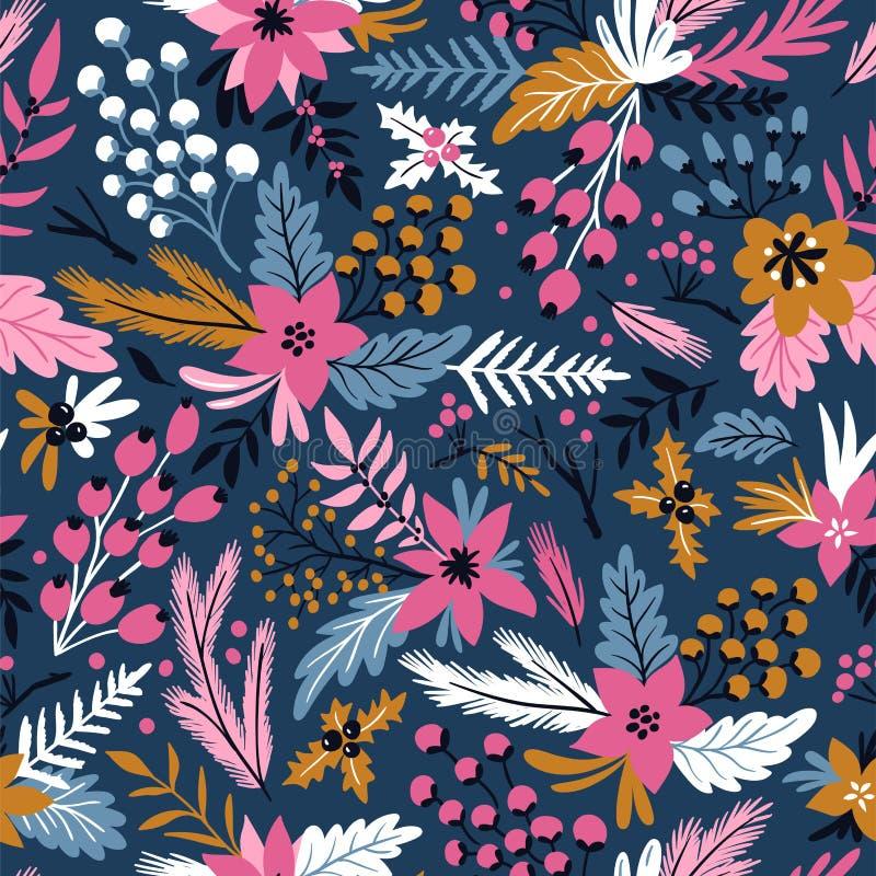 Картина вектора Нового Года безшовная с ветвями, ягодами и цветками Бумага обруча рождества флористической нарисованная рукой бесплатная иллюстрация