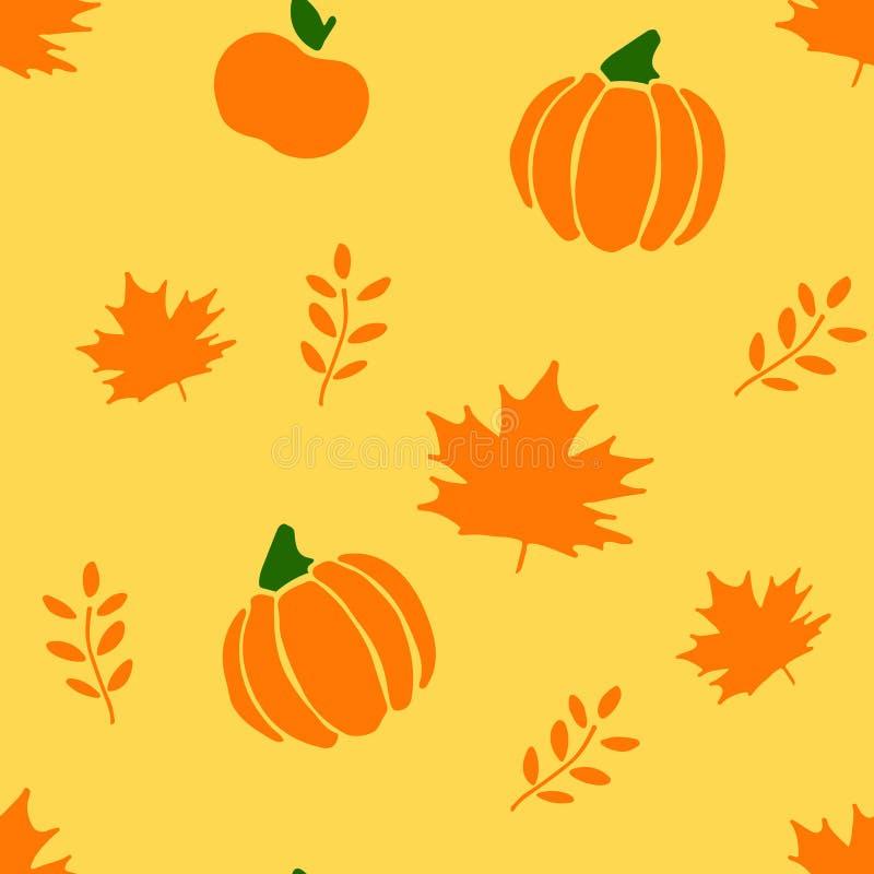 Картина вектора осени безшовная с яблоками, сквошами и листьями цветы греют Для украшения упаковочной бумаги иллюстрация вектора