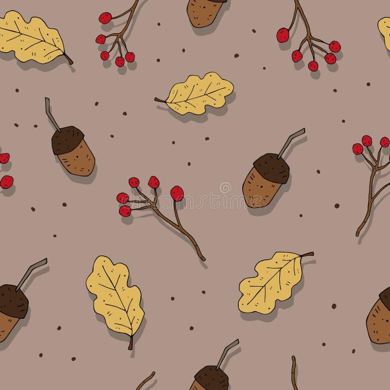 Картина вектора осени тематическая безшовная с милыми жолудями и листьями на нейтральной предпосылке бесплатная иллюстрация