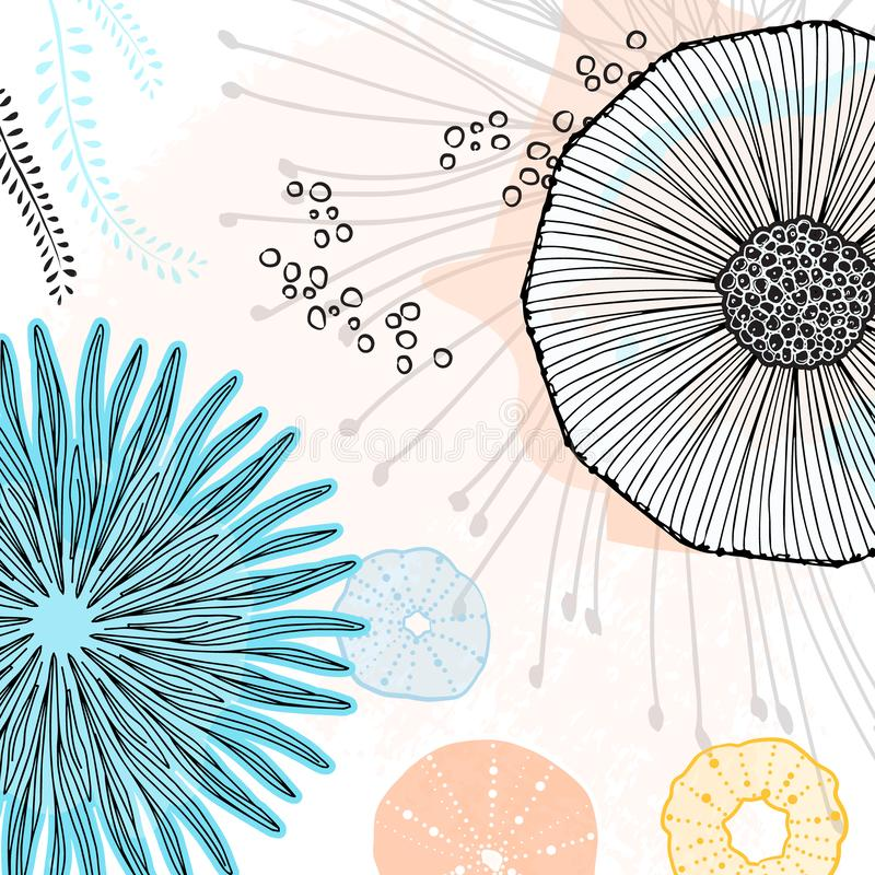 Картина вектора особенная абстрактная Онлайн обои doodle Крутые простые элементы цветка с творческой предпосылкой Флористическое  иллюстрация вектора