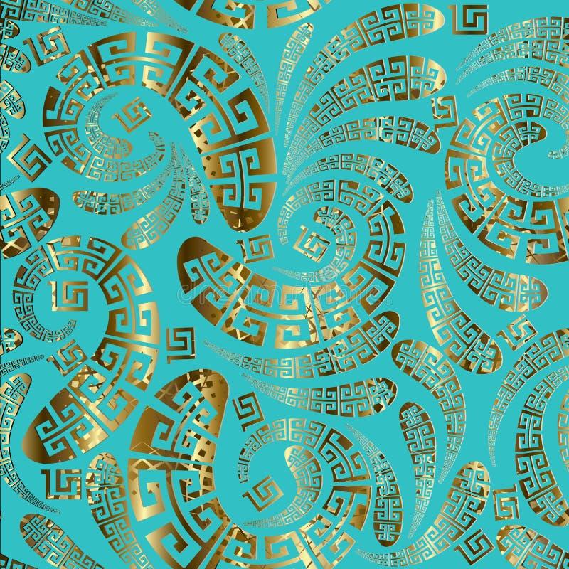 Картина вектора Пейсли греческого стиля флористическая безшовная стоковые фото