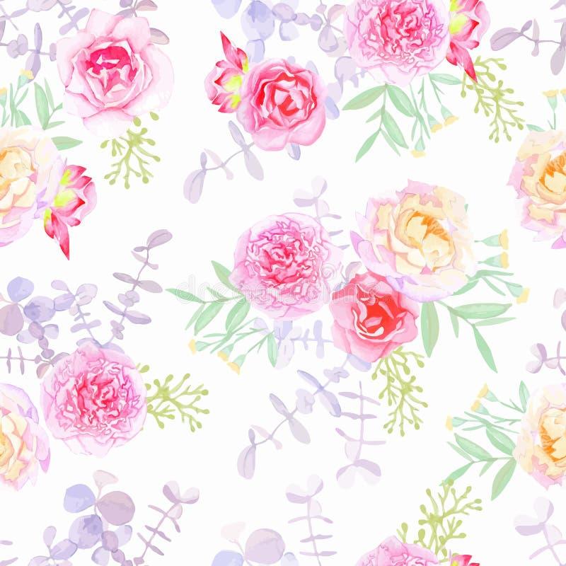 Картина вектора пионов и роз безшовная в затрапезном шикарном стиле бесплатная иллюстрация