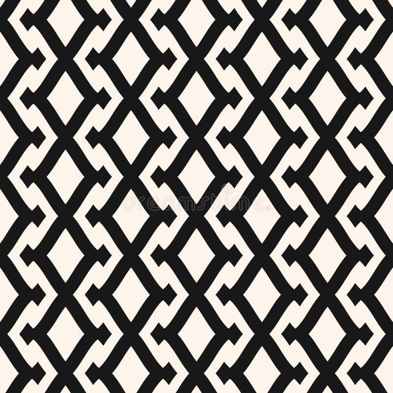 Картина вектора племенная геометрическая безшовная с сеткой, решеткой, решеткой, косоугольниками иллюстрация штока