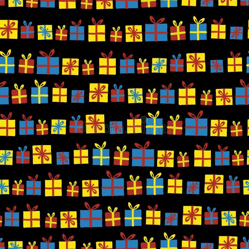 Картина вектора подарочных коробок в ряд безшовная Настоящие моменты со смычками красными, желтыми и голубыми на черной предпосыл иллюстрация вектора