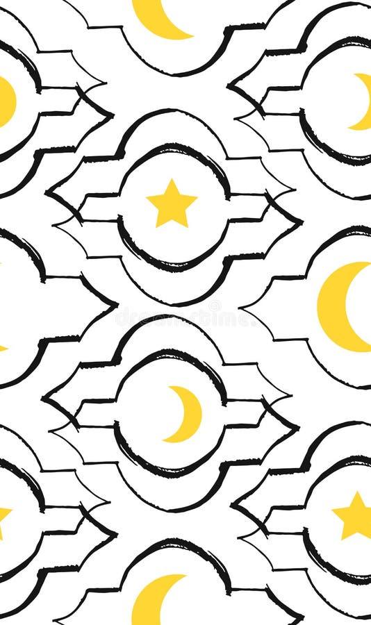 Картина вектора приветствию Рамазана Kareem безшовная с современным фонариком и звездами специально для желать и дизайна Рамазана иллюстрация штока