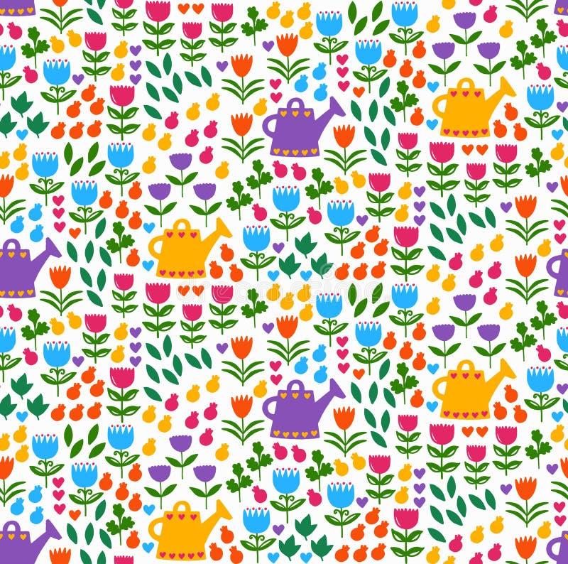 Картина вектора природы заводов цветков флористическая безшовная иллюстрация вектора