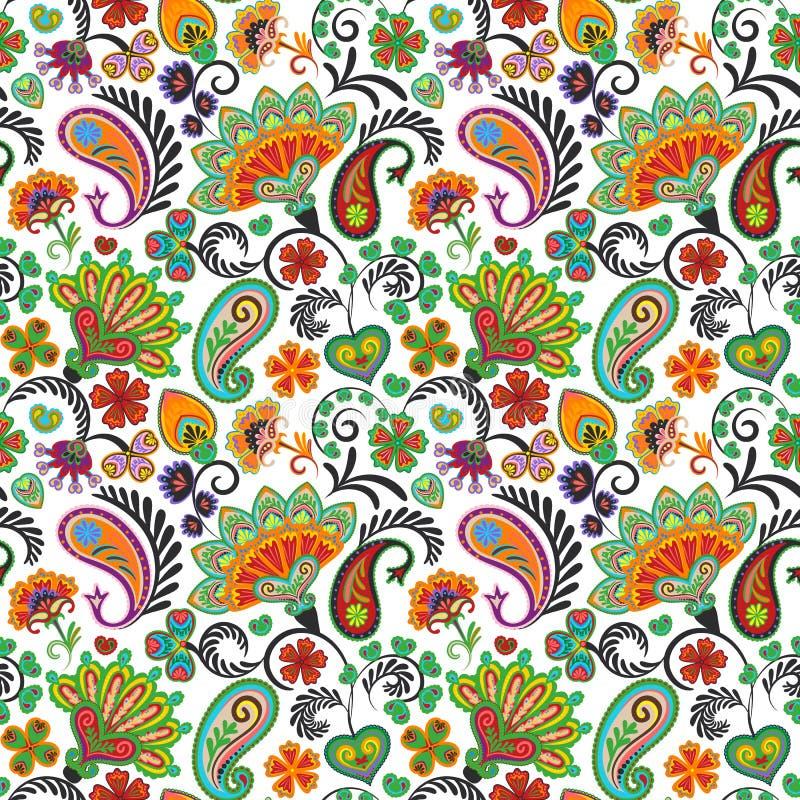 Картина вектора притяжки руки Пейсли безшовная Традиционная индийская картина для тканей, обоев, оформления etc бесплатная иллюстрация