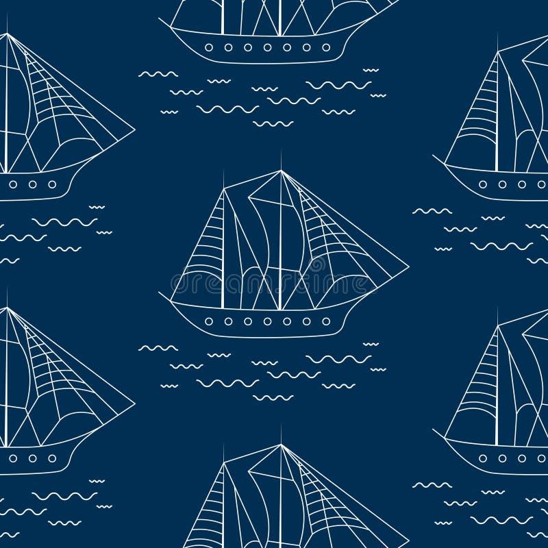 Картина вектора плана парусного судна безшовная в стиле doodle иллюстрация вектора