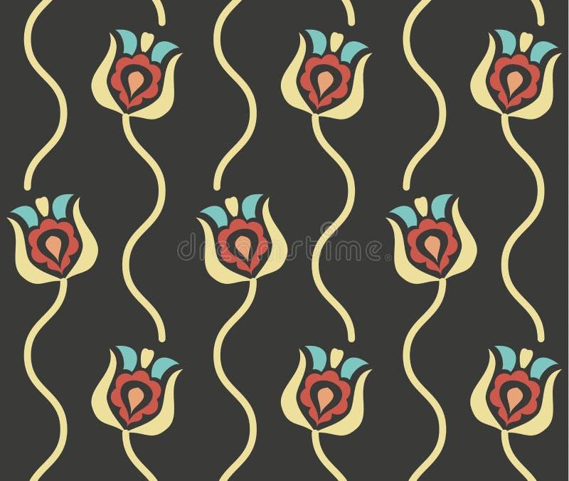Картина вектора ретро флористическая безшовная иллюстрация штока